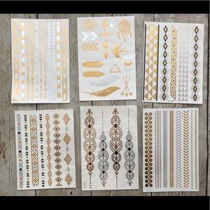 Bohemian Temporary Tattoo Gold Silver Bracelets